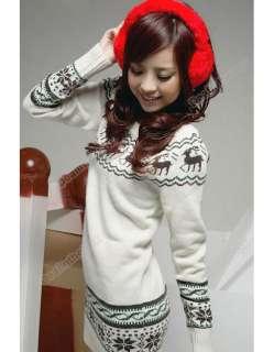 Soft New Women knit Sweater dresses Pullover Jumper Top Snowflake Deer
