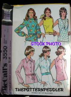 VINTAGE Womens Fabric Pattern BLOUSE EASY SHIRT TOP b34