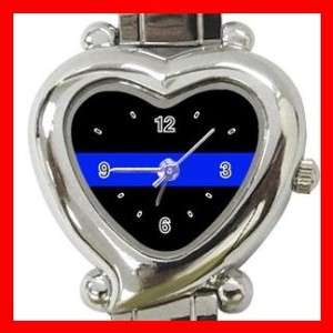 Thin Blue Line Police Officer Heart Italian Charm Watch