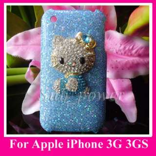 3D Blue Hello Kitty Rhinestone Bling Hard Case cover for iPhone 3G 3GS