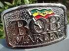bob marley metal belt buckle w name rastafarian flag design