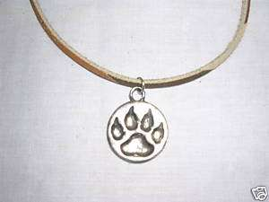 WILD WOLF PAW PRINT SILVER PEWTER PENDANT 18 NECKLACE