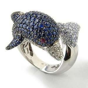 18K White Gold Sapphire, Ruby & Diamond Dolphin Ring Jewelry