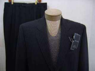 Polo Wool Pin Stripe Suit Blazer Coat Pants 36 W Mens Navy
