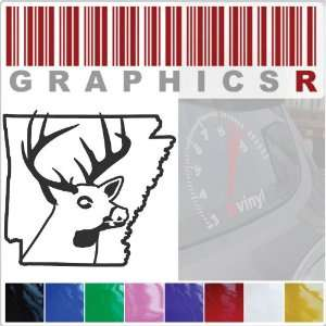 Sticker Decal Graphic   Deer Buck Deer Head Hunt Hunting Bow State