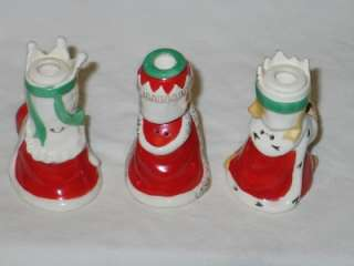 Three Kings Christmas Candle Holder Bells Wisemen 1950s T19