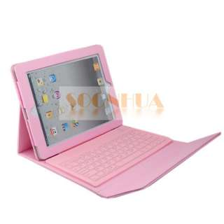Wireless Bluetooth Keyboard + Leather Case iPad 2 Pink