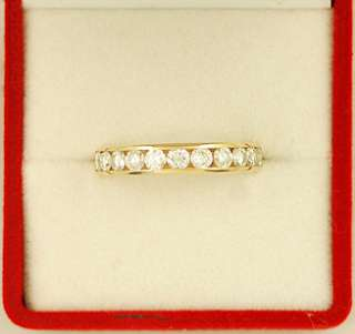 14K Gold Wedding Anniversary Band w/Channel Set Diamonds Ring   Over