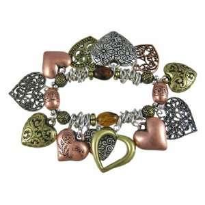 Dangling Heart Tri Tone Stretch Charm Bracelet Jewelry