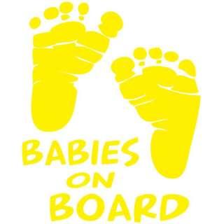 BABIES ON BOARD CUSTOM MADE WINDOW DECAL  YELLOW 5x6
