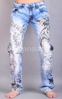 3mu Mens Designer Jeans Pants Denim Stylish Washed Eagle W28 30 32 34