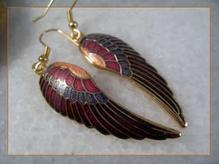gold plated cloisonne enamel red angel wing dangle earrings 6159