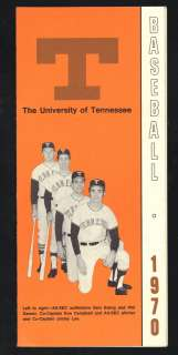 University Of Knoxville Tennessee 1970 UT Vols Baseball Schedule Phil