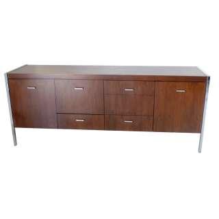6ft Vintage Jasper Walnut Chrome Credenza Cabinet