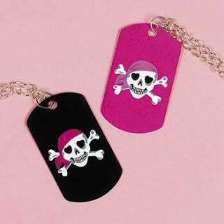 12 Pirate Skull Dog Tag Necklace s Girl Party Favors
