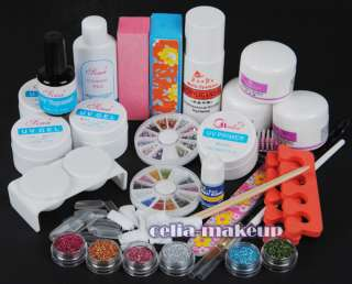 Full Acrylic Powder Glitter Liquid Nail Art Kit UV gel primer Tools