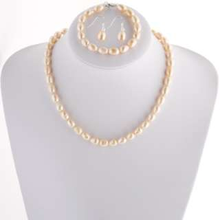 9mm Freshwater Cultured Potato Pearls Necklace, Bracelet & Earring