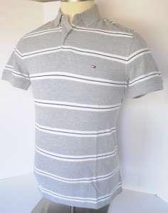 Men TOMMY HILFIGER Gray / Black / White Flag Logo Polo Shirt M
