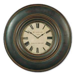 UT06724   Distressed Black Wood Frame Wall Clock with Aged Ivory