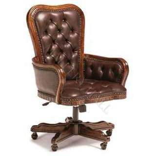 Tufted Leather Executive Chair Nail Head Trim Curved Top