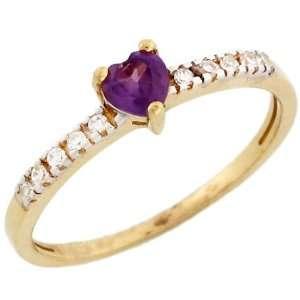 14k Gold June Birthstone Synthetic alexandrite Heart Ring