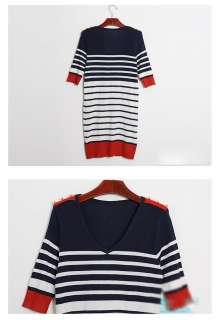 Korean Fashion V neck Stripe Women`s Sweaters Mini Dress T shirt