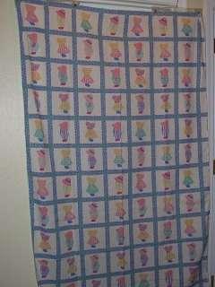 Vtg Cute Sunbonnet Girl Overall Boy Cheater Quilt Cotton Fabric Pastel