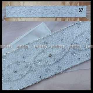 NEW Beaded Crystal Ivory/White Satin Wedding Bridal Dress Belt Sash