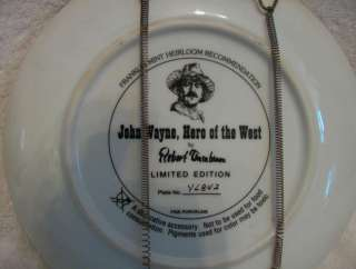 John Wayne Hero of the West Collector Plate Authentic Tanenbaum LE
