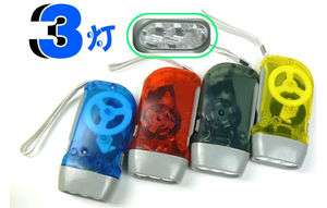 Quality Hand Press Flash Light Flashlight Torch 3 LED Dynamo