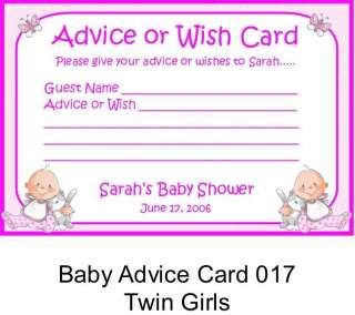 BABY SHOWER Advice Wish Cards TWINS Boy or Girl