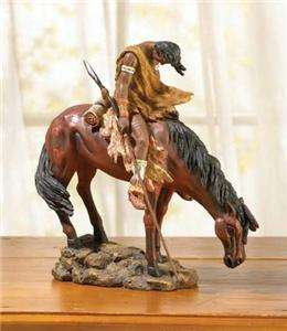 TRAIL Statue Reproduction~American Indian with Spear & Horse ~Color