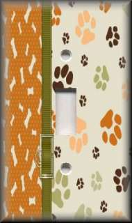 Single Switch Plate Cover   Dog Bones & Paws