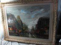 1955 EUROPEAN FRENCH PARIS STREET SCENE OIL PAINTING ~ by AGOSTINELLI