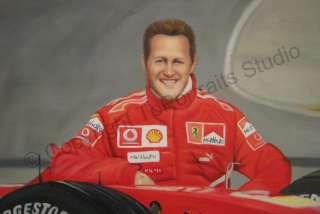 Michael Schumacher Ferrari F1   Original Racing Photo Oil Painting on
