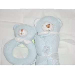 Super Soft Security Blanket with Matching Rattle Baby Gift