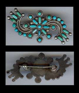 ZUNI INDIAN STERLING SILVER & TURQUOISE FLOWER SWIRL PIN