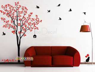 Wall Decor Decal Sticker Removable tree branche birds large 2 colors