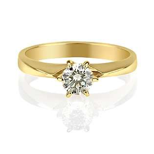 REAL ROUND DIAMOND ENGAGEMENT RING 14k Y Gold 0.3 CARAT