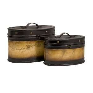 Old World Map Design Decorative Boxes w/ Handle and Lid   Set of 2
