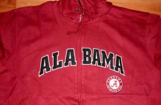 Alabama Crimson Tide Hoodie Large Special Stitched Zip NCAA Free