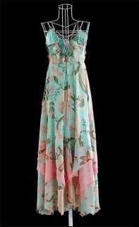 A160 Sexy blue Deep V Neck Beach Boho Maxi Long Dress Size 6/8/10/12