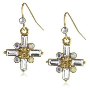 Vatican Library Collection® Gold Tone Crystal Cross Earrings Jewelry