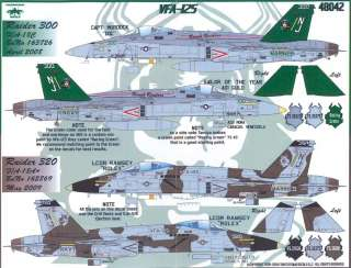 Fightertown Decals 1/48 F/A 18 HORNET VFA 125 ROUGH RAIDERS
