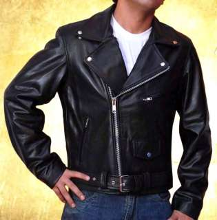 Arnold Terminator Heavy Cowhide Black Motorcycle Jacket