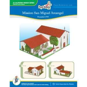 California Mission San Miguel Arcangel 10 x 13 Paper Model