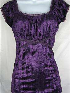 Womens Purple Cap Sleeve Velour Shirt Top Blouse New S