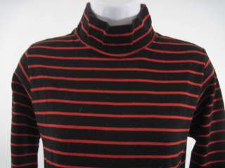 JOAN VASS Black Red Striped Cotton Long Sleeve Shirt 1