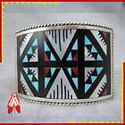 Pawn Zuni bracelet turquoise shell CORAL onyx Native American jewelry