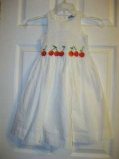 EPK France White Smocked Cherry Dress sz 4 NWT
